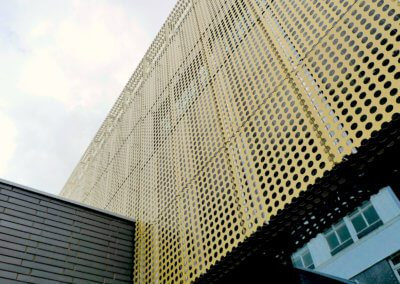 AE building - Cladding brick wall join.